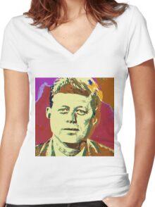 JFK-2A Women's Fitted V-Neck T-Shirt
