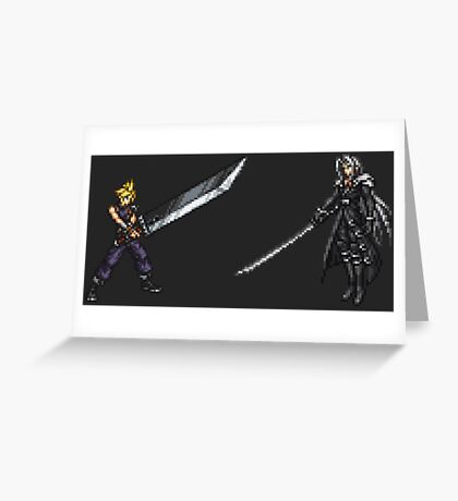 Cloud vs Sephiroth (FF7) - FFRK Boss Sprites Greeting Card