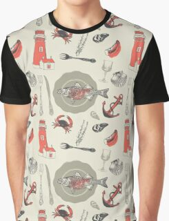 Red Coastal Pattern Graphic T-Shirt