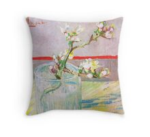 Vincent Van Gogh - Blossoming Almond Branch in a Glass Throw Pillow