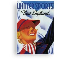 Winter sports New England retro vintage Canvas Print