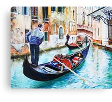 Gondola on a canal in Venice, Italy Canvas Print