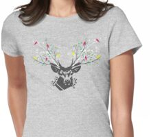 Illustration of the deer head with antlers in shape of spring branches with colorful leaves and birds Womens Fitted T-Shirt
