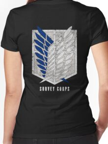 Attack on titan - Survey corps (dirty style) - back or front Women's Fitted V-Neck T-Shirt