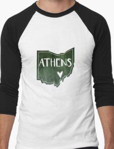 Athens, Ohio - Green Watercolor Heart Men's Baseball ¾ T-Shirt