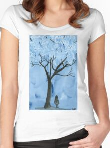 A blue forest - Watercolor painting Women's Fitted Scoop T-Shirt