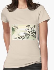Green Lake - Watercolor Painting Womens Fitted T-Shirt