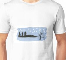 Starry night with the moon black trees and mountains. Watercolor Unisex T-Shirt