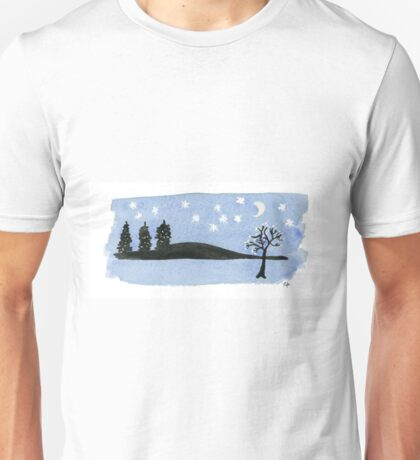 Starry Night Moon, Black Trees Mountains. Painting Art Print  Painting Art Print Fine Art Print from Watercolor Painting Landscape Art Print Starry Night Watercolor Unisex T-Shirt