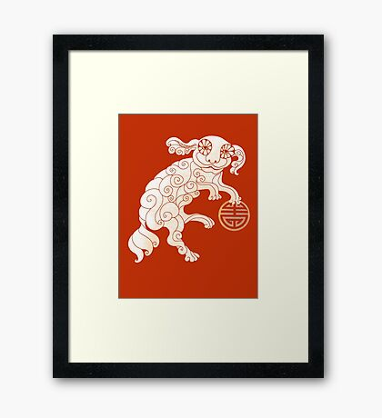 Long Life White Cloud Foo Dog Framed Print