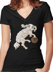 Long Life White Cloud Foo Dog Women's Fitted V-Neck T-Shirt