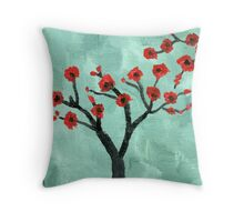 Abstract Red And Green Tree - Oil On Canvas Throw Pillow
