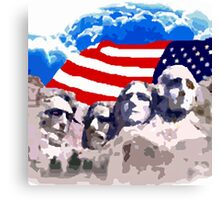 Mount Rushmore  With American Flag  Canvas Print