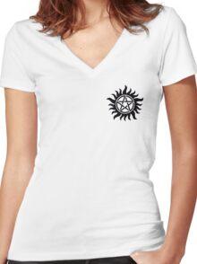 Anti-Possession Chest Tattoo Like Sam & Dean! Women's Fitted V-Neck T-Shirt