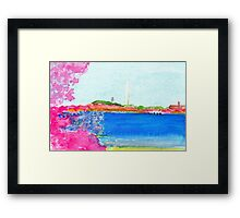 Washington Monument with Cherry Blossoms Framed Print