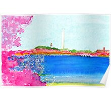 Washington Monument with Cherry Blossoms Poster