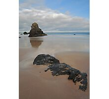 Sea Stack and Jurassic looking Rock on Sango Bay Photographic Print