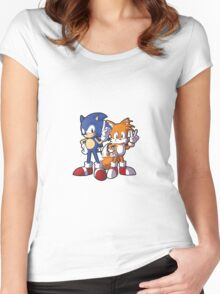 Classic Sonic and Tails Women's Fitted Scoop T-Shirt