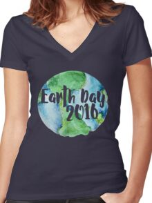Earth Day 2016 Women's Fitted V-Neck T-Shirt