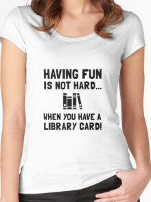 Library Card Fun Women's Fitted Scoop T-Shirt
