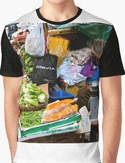 market scene in Hong Kong lady selling fruit and vegetables Graphic T-Shirt