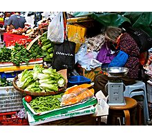 market scene in Hong Kong lady selling fruit and vegetables Photographic Print