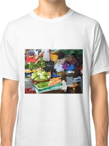 market scene in Hong Kong lady selling fruit and vegetables Classic T-Shirt