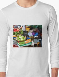 market scene in Hong Kong lady selling fruit and vegetables Long Sleeve T-Shirt