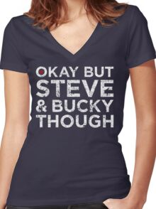 Steve & Bucky Though - White Text Women's Fitted V-Neck T-Shirt