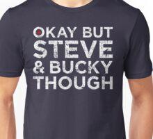Steve & Bucky Though - White Text Unisex T-Shirt