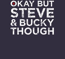 Steve & Bucky Though - White Text Unisex T-Shirt
