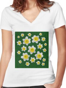 Spring Daffodils Women's Fitted V-Neck T-Shirt