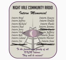 Night Vale Community Radio Intern Memorial Kids Tee