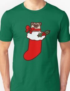 Christmas Stocking Pug T-Shirt
