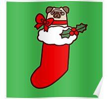 Christmas Stocking Pug Poster