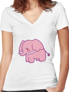 Pretty Pink Elephant Women's Fitted V-Neck T-Shirt