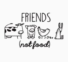 Animal Rights Rescue Friends Not Food Kids Tee