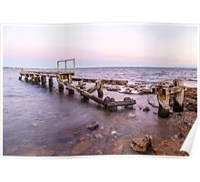 Beaumaris Old Jetty with a pale pink skyline Poster