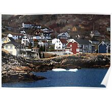 Homes on the shore of Brigus Cove Newfoundland Poster