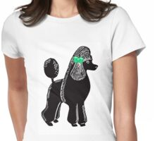 Black Standard Poodle with Green Bow Womens Fitted T-Shirt