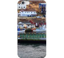 Protective wall and entrance to Petty Harbor. Moored fishing Boats. iPhone Case/Skin