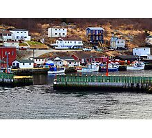 Protective wall and entrance to Petty Harbor. Moored fishing Boats. Photographic Print