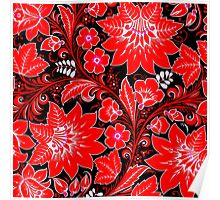 Red Neon Floral Poster