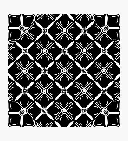 Celtic Pattern Diamonds and Crosses Black and White Photographic Print