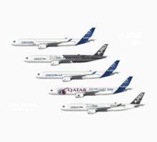 Airbus A350 Test Aircraft Fleet Illustration - Blue Version Baby Tee
