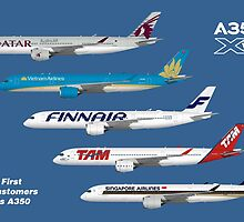 Airbus A350 First Five Customers Illustration - Blue Version  by © Steve H Clark