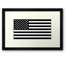 Black and White USA America Flag Framed Print