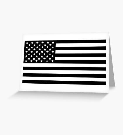 Black and White USA America Flag Greeting Card