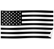Black and White USA America Flag Poster
