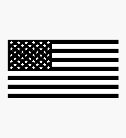 Black and White USA America Flag Photographic Print